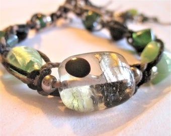 Green Metal, Women's Braided and Beaded Bracelet