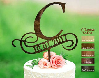 c cake topper, cake toppers for wedding, wedding cake topper, initial cake topper, cake topper c, cake topper with date, anniversary, CT#143