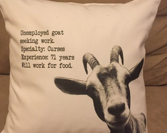 funny chicago baseball  goat curse throw pillow cover, decorative throw pillow, unemployed goat