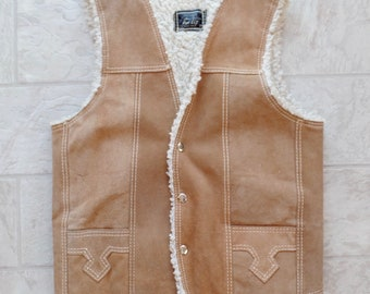 Leather Suede Sherpa Vest