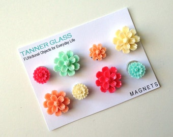 Resin Flower Magnets - Papaya colors - Rare Earth Magnets- Set of 8