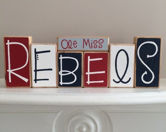 Ole Miss Rebels Decorative Blocks