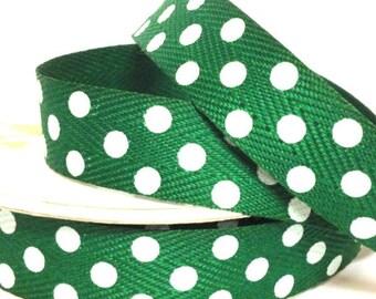 15mm Green Twill Dot Ribbon