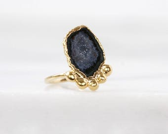 natural crystal ring | druzy crystal ring | raw gemstone ring | druzy geode ring | natural agate ring | agate stone ring | rough drusy ring
