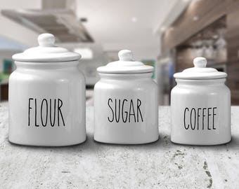 Rae Dunn inspired, Pantry label decals, FREE SHIPPING, customized, Flour label, Sugar, home decor decal, home accessories #112