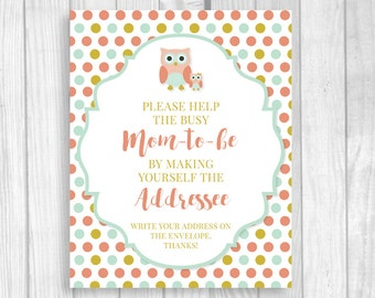 SALE Owl Themed Girl's Baby Shower Printable Help the Busy Mom-to-Be 8x10 Write Your Address Sign - Coral, Mint and Gold - Instant Download