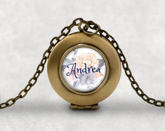 Personalized Photo Locket, Custom Name Necklace, Gift For Her