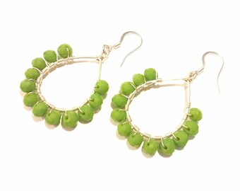 Green Apple Teardrop Earrings, Hoops, Silver Wire Wrapped