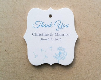 Personalized Wedding Tags, Thank You Wedding Tags, Custom Favor Tags, Wedding Gift Tags, Bridal Shower Tag, Dandelion Gift Tags, Set of 25