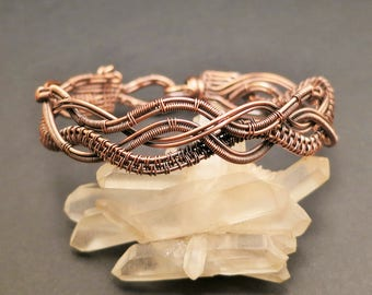 Bracelet ArmCuff copper wire Copperwire wire jewelry Wirewoven wirewrapped Antique-acting tribal