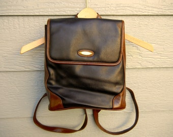 Vintage 90s 'Capezio' Faux Leather Black and Brown Backpack