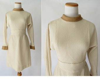 Long Sleeve Mini Dress 60s Mod Dress 1960s Beige Brown Go Go Twiggy Dress Size Small S Fit and Flare