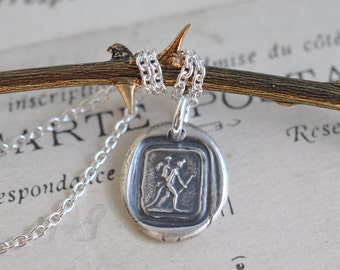 devil carrying Cupid wax seal necklace pendant ... the devil with it - antique wax seal jewelry