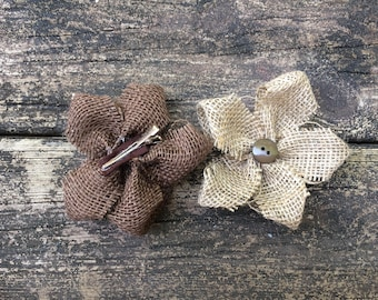 Small Burlap Flower Hair Clips with Button ~ Rustic ~ Shabby Chic ~ Country Wedding Hair Clips ~ Flower Girl ~ Baby Girl Hair Clip ~ Vintage