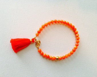Orange and Red Beaded Tassel Boho Friendship Bracelet