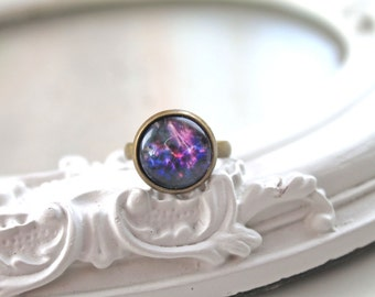 Galaxy ring  feminine black purple star night planet astronomy science