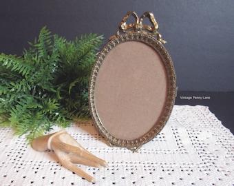 Vintage Brass Metal Frame, Tabletop, Ribbon Bow, Boho / Bohemian Decor