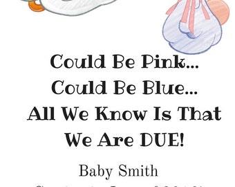 Pregnancy Announcement Card-Pregnancy Reveal Card-Pregnancy Card-Announcement-Printable Pregnancy Announcement-Stork Pregnancy Card