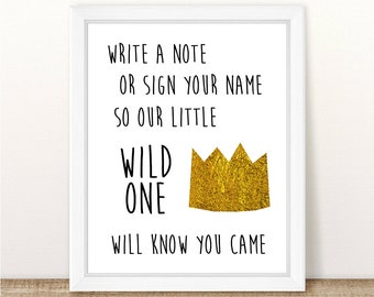 Wild One Guest Book Sign, Baby Shower, Wild One Birthday Party, Where The Wild Things Are First Birthday, Printable, INSTANT DOWNLOAD, 8x10