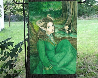 Lady of the Forest Garden Flag