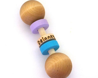 Natural Wood Baby Toy Rattle - Teething Toy - Personalized - Eco Friendly Newborn Gift - Choose Colors