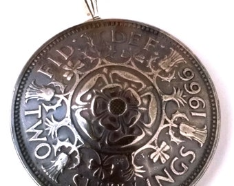 UK England Tudor Rose Shilling Pendant Vintage Jewelry Necklace Britain British Coin Unique Charm Finding Bead World English Teacher Gift