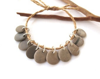 Rock Beads Small Mediterranean Natural Stone River Stone Jewelry Supplies Pairs KHAKI CHARMS 13-15 mm