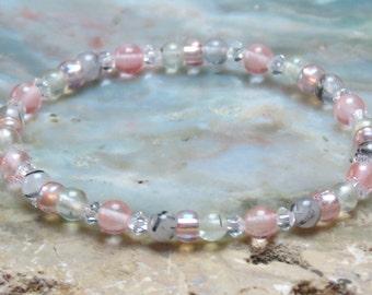 GIRL'S LIBRA POWER Prehnite, Strawberry Quartz and Tourmalinated Quartz Healing Stone Bracelet or Anklet!