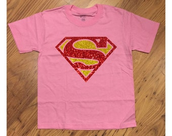 Super Girl Glittery Super Hero Pink T-Shirt Super Kid Tee Hero SuperHero SuperGirl Girly Great for Birthday or Just for Fun
