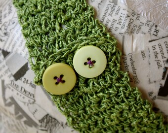 Crochet headband- bright yellow-green with yellow buttons