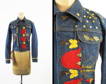 Vintage 60s Hippie Denim Jacket Wrangler Selvedge One of a Kind Made in USA - Size 34