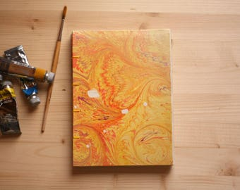 Notebook with marbled paper