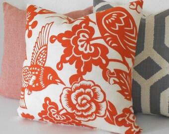 Red orange floral decorative pillow, Thomas Paul aviary  tangerine,  bird pillow