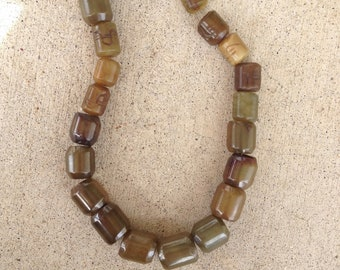 agate barrel beads, brown and green bead strands, supply, loose beads with holes for stringing
