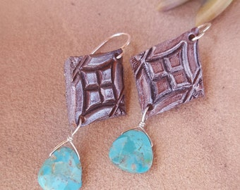Leather and Turquoise Earrings - Silver Paint - Distressed - Tooled Leather - Rustic - Flowers - Hand Painted - Sterling Silver - Cowgirl