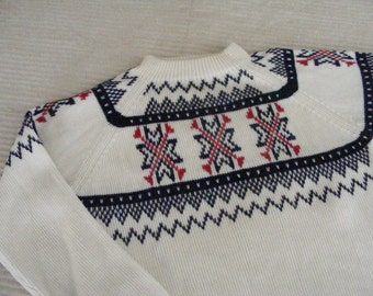 60s WINTER SWEATER Knit J C Pennys Ski Lodge - Mens S Womens M Medium Small Acrylic Snowflake Design