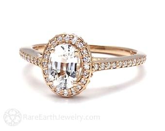 White Sapphire Engagement Ring Oval Halo Setting 14K 18K Gold or Platinum Bridal Jewelry Diamond Alternative