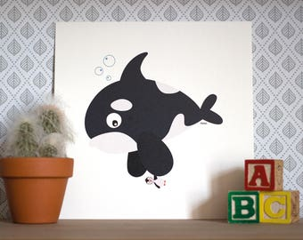 Billy the vegetarian orca, Print 20x20cm