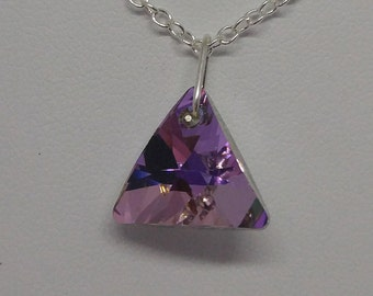 Sterling Silver Swarovski Crystal Vitrail Light (Pink/Green/Purple) Triangle Necklace