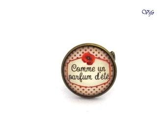 """Ring """"Comme un parfum d'été"""", bronze ring, poppy, white, red"""