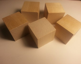 "1.5"" Wood Cube - Set of 5 - Wooden Square - 1 1/2 inch Wood Cubes - Unfinished - Wood cube - Craft Cubes Wood Parts"