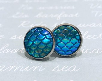 mermaid stud earring, mermaid jewelry for women, blue mermaid, fish scale earrings, earrings handmade, aqua stud earrings, large studs