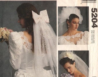 Uncut BRIDAL VEILS PATTERN McCall's Crafts #5204 Wedding 9 Styles Alicyn Exclusives Vintage Sewing 1991