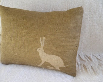 Hand  screen printed and stitched hare  cushion