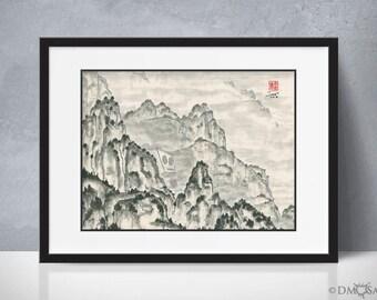 Reclusive Robot - foggy mountain sumi-e watercolor painting - 12x16 (Print)