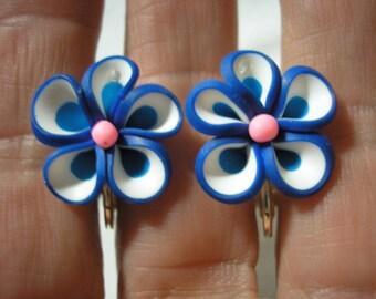 """Play Earring - Clip - Flower - Blue/White - 3/4"""""""