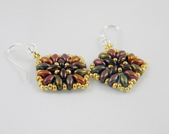 "READY TO SHIP Superduo Dark Bronze and Purple Iris Beadweaving Earrings ""Arabesque No. 2"""