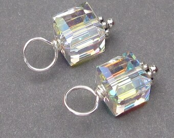 Swarovski Crystal AB Cube Charms, Charms for Bracelet,  Necklace Charms, Bead Dangles, Birthstone Charms, Interchangeable Earring Charms