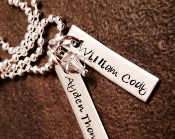 Personalized hand stamped necklace with 2 bars and birthstone