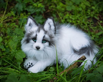 MADE TO ORDER! Handmade Poseable toy Arctic Marble Fox.Fox plush .Stuffed fox. Fox toy.Fox Soft Sculpture.Stuffed toy.Plush toy.